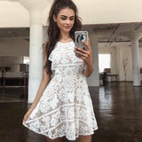 A-Line Round Neck Open Back White Lace Short Cheap Homecoming Dresses, QB0059