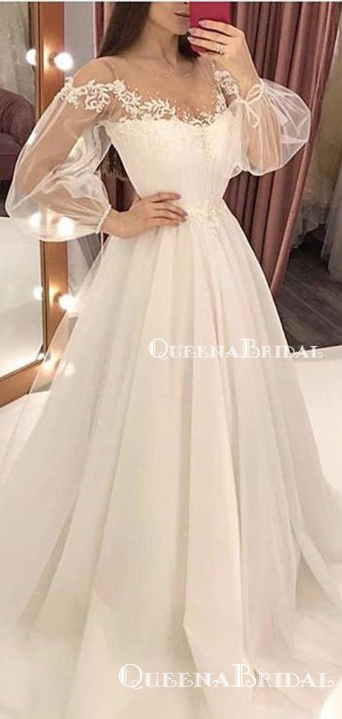 Ball Gown New Arrival V-neck Long Sleeves Ivory Tulle Princess Long Cheap Evening Prom Dresses, QB0973