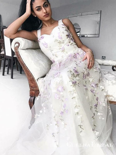 7707035270 2019 Elegant A-Line Straps Long White Prom Dresses with Appliques ...