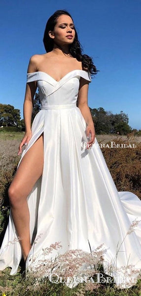Off-The-Shoulder Simple White Satin Side Slit A-line Long Cheap Formal Evening Party Prom Dresses, PDS0039