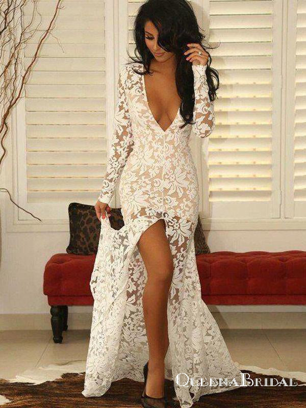 Sexy Lace V-neck Long Sleeve Mermaid Split Front Prom Dresses, QB0700