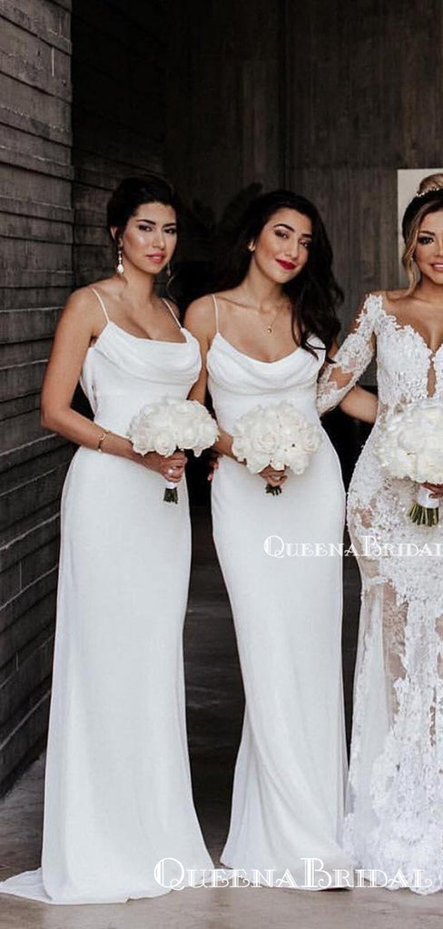 Charming Spaghetti Strap Off-White Chiffon Mermaid Long Cheap Bridesmaid Dresses, BDS0020