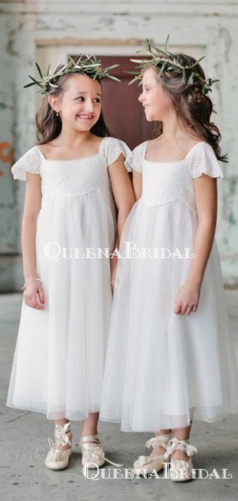 Elegant Square Cap Sleeves Tulle A-line Long Cheap Flower Girl Dresses, FGS0018