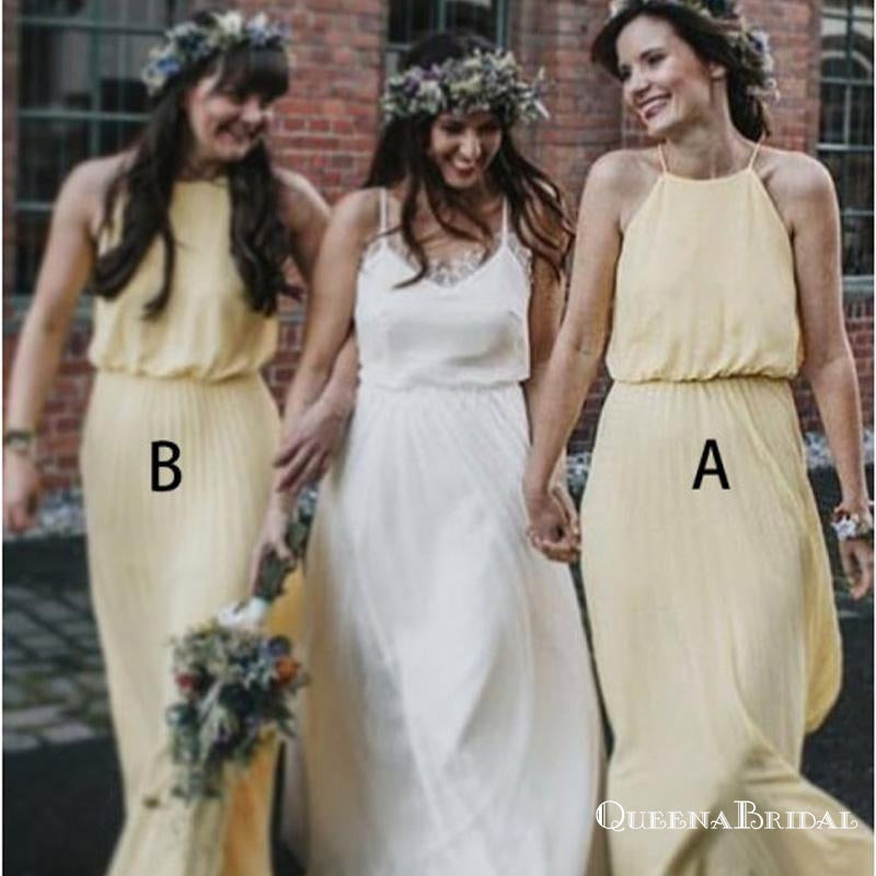A-Line Halter Floor Length Pleated Yellow Chiffon Bridesmaid Dresses, QB0721