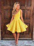 Simple A-Line V-Neck Sleeveless Short Yellow Cheap Homecoming Dresses, QB0042