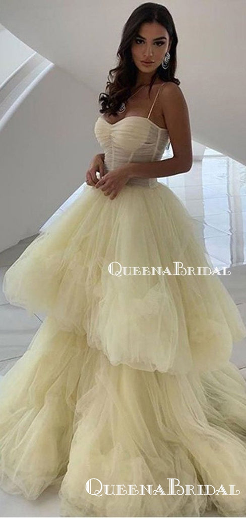 New Arrival Ball Gown Light Yellow Spaghetti Strap Sleeveless Long Cheap Tulle Prom Dresses, QB0951