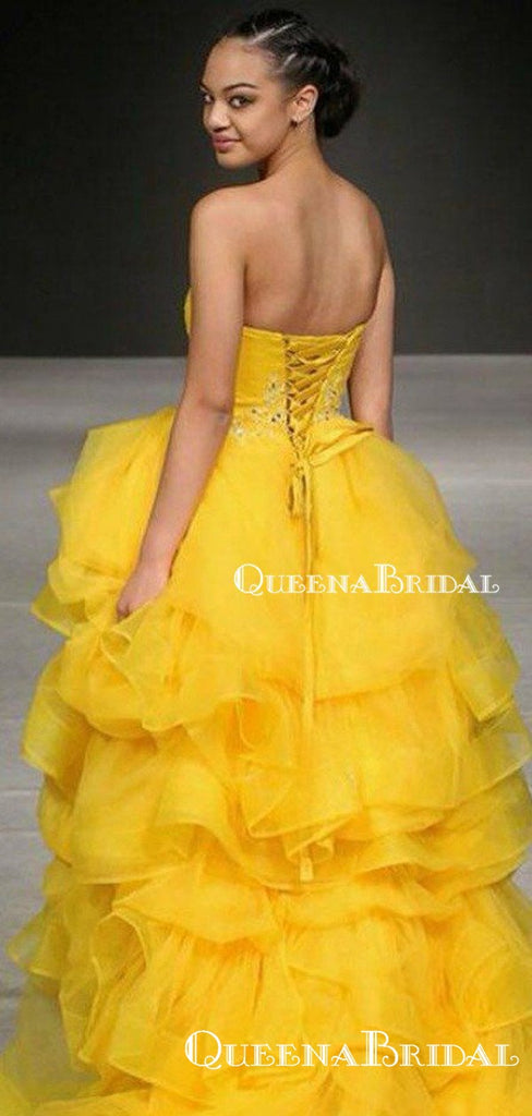 Sweetheart Ball Gown Charming Sleeveless Yellow Tulle Beaded Long Cheap Prom Dresses, QB0954