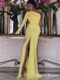 Newest Simple Charming One Shoulder Long Sleeves Yellow Chiffon Long Cheap Side Slit Prom Dresses, QB0926