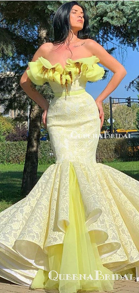2020 Arabic Yellow Lace Dubai Srtapless Mermaid Long Party Gowns Evening Formal Prom Dresses, PDS0031