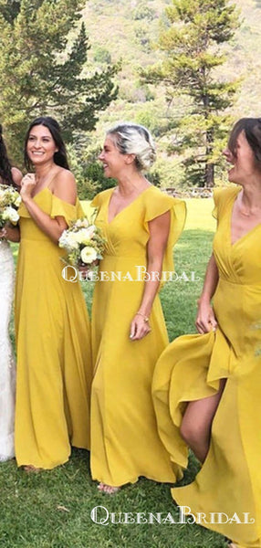 Mismatched Charming Yellow Chiffon A-line Long Cheap Bridesmaid Dresses Online, BDS0075