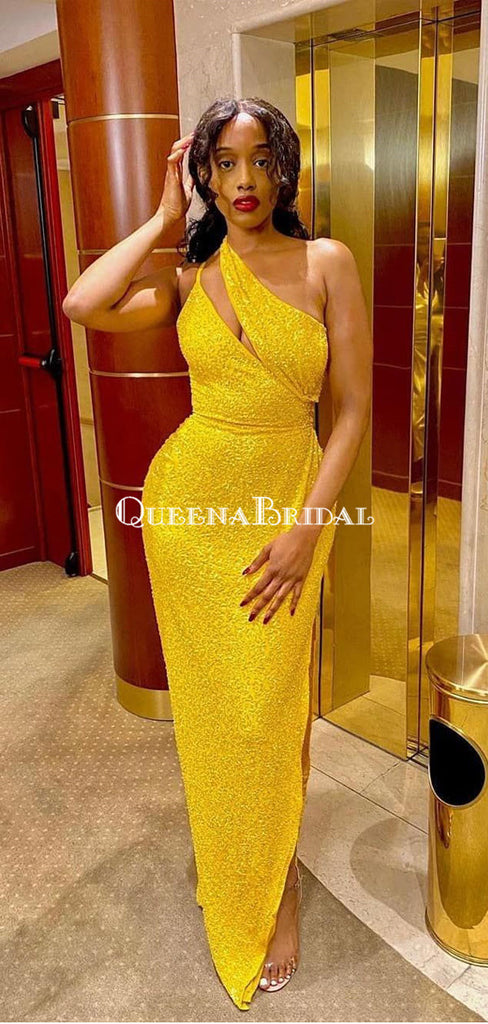 Sexy One Shoulder Yellow Sequin Side Slit Long Cheap Prom Dresses, PDS0088