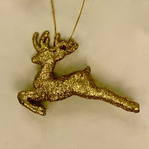 Reindeer Sparkle Christmas Ornament (Gold and Silver)