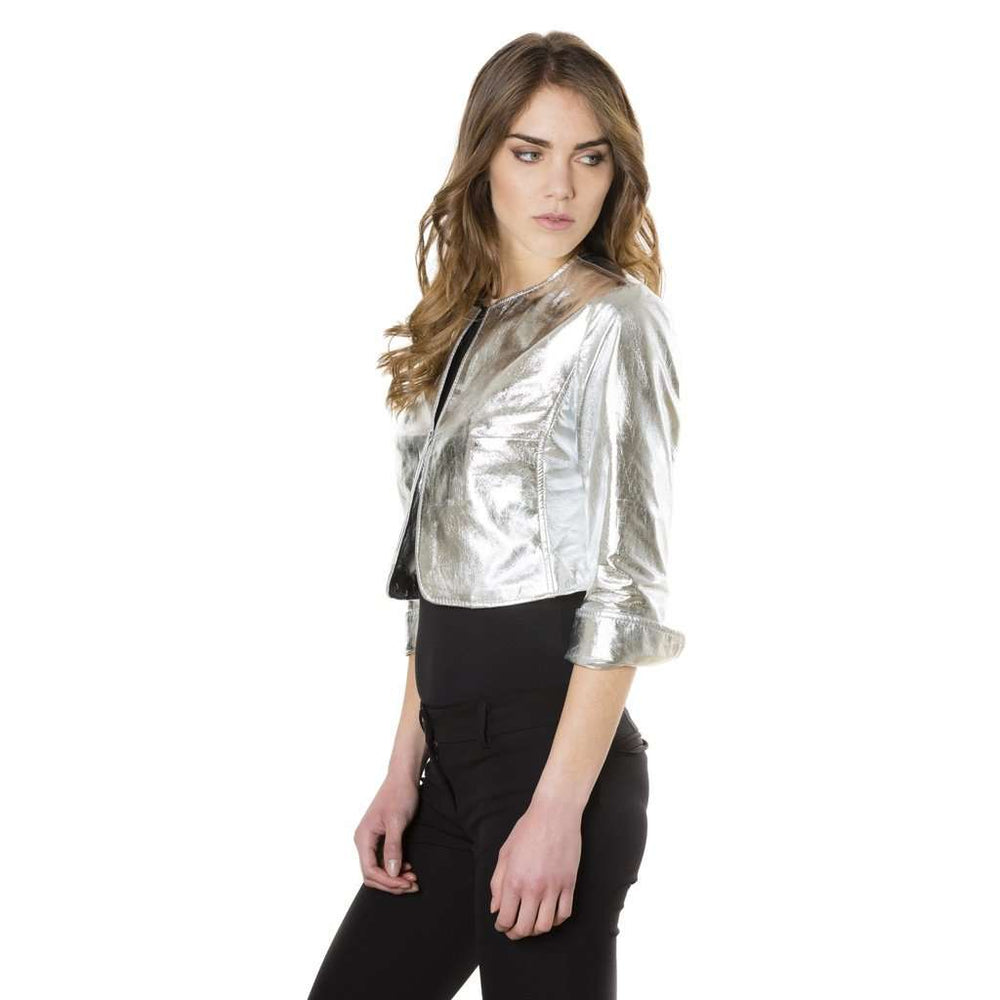 Women's leather short jacket silver Miss