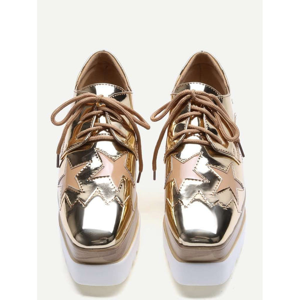 Gold Star Patch Patent Leather Platform Shoes