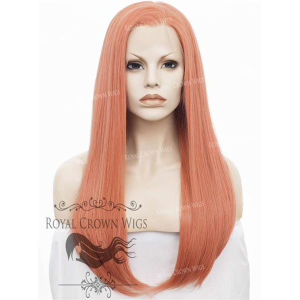 "24 inch Heat Safe Synthetic Straight Texture Lace Front ""Aphrodite"" in Rose Gold"