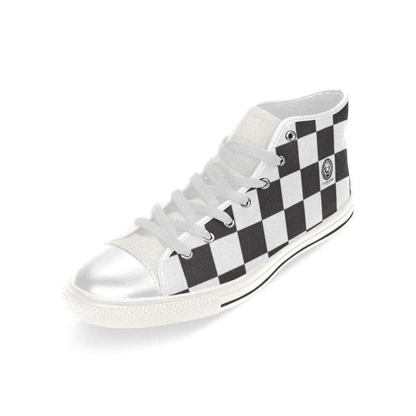 Mens Checkered Basketball High Top Canvas Shoes