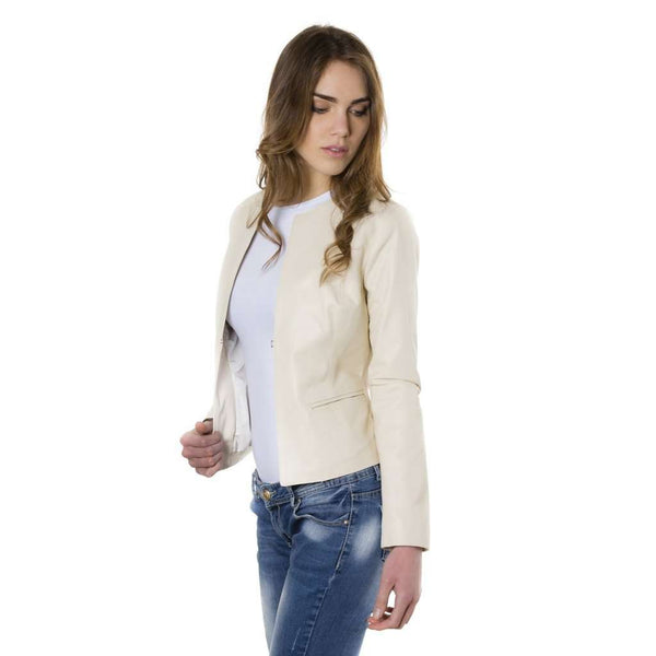 Women's leather jacket roundneck beige ClearG