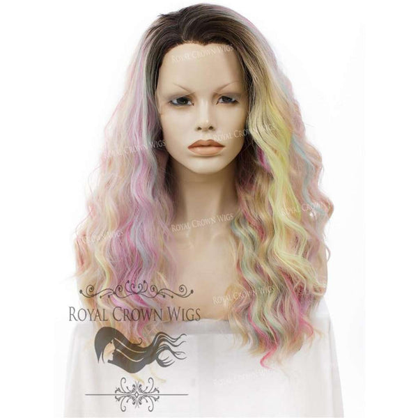 "24 inch Heat Safe Synthetic Lace Front ""Ada"" with Wavy Texture in Unicorn Fantasy"