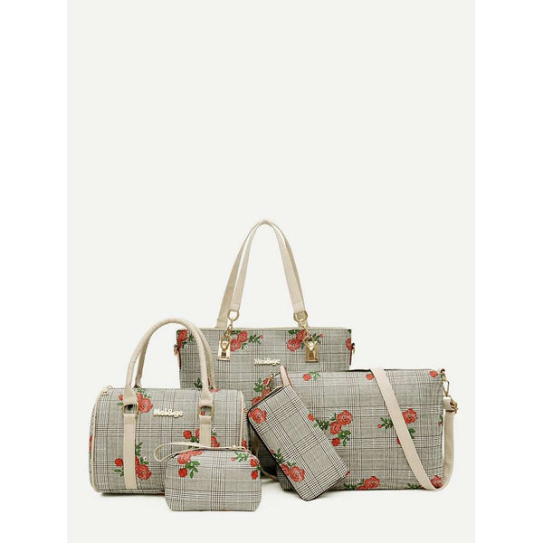 Flower Embroidery Combination Bag 5pcs