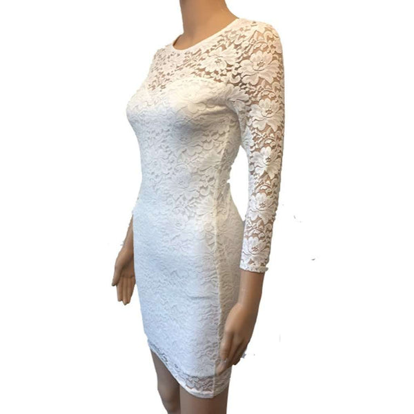 Club L Essentials Cream Lace Bodycon Dress with Sweetheart Neckline Size 8