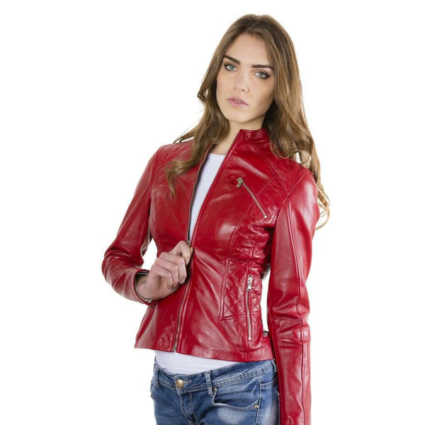 Women's quilted leather jacket biker red Geny