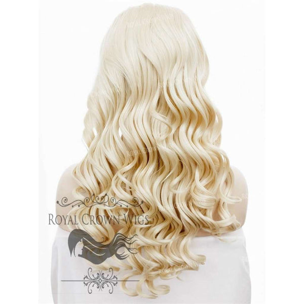 24 inch Synthetic Lace Front with Curly Texture in Ash Blonde