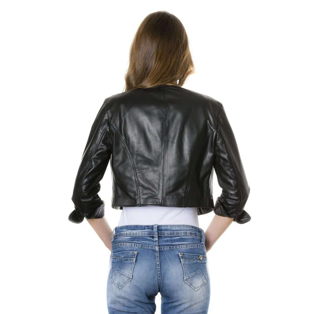 Women's leather short jacket black Miss