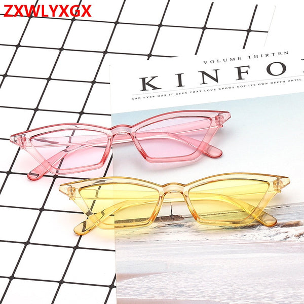 2018 brand design new European American cat eye glasses sunglasses ladies retro sunglasses transparent box colorful glasses