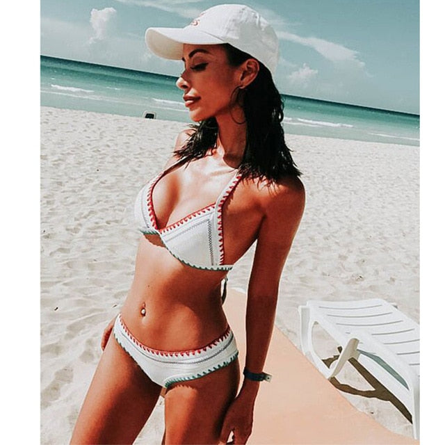 2019 New Sexy Bikinis Women Swimwear Push Up Swimsuit Halter Top Biquini Padded Bathing Suit Bandage Brazilian Bikini Set