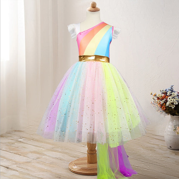 2019 Summer Baby Girls Designed Unicorn Tutu Dress Fairy Rainbow Princess Tulle Dress Children Birthday Party Gifts Cosplay