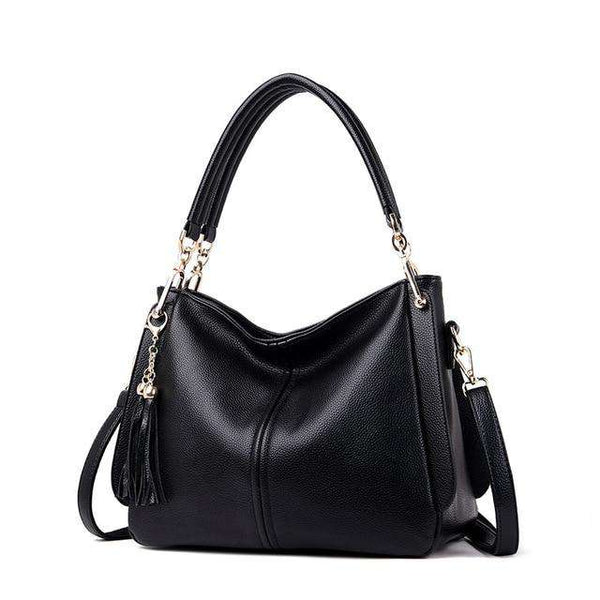 2019 new Designer Hangbags Women Cow Leather Shoulder Bags Ladies Solid Bags Female Large Tassel Tote Women Casual Crossbody Bag