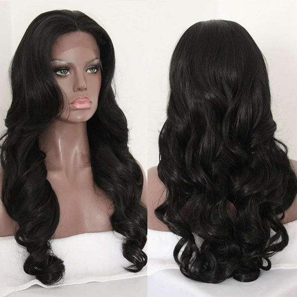 Elegant Women Human Hair Long Wavy Black Hair Wig Body Wave Wig Front Lace Cap Wig