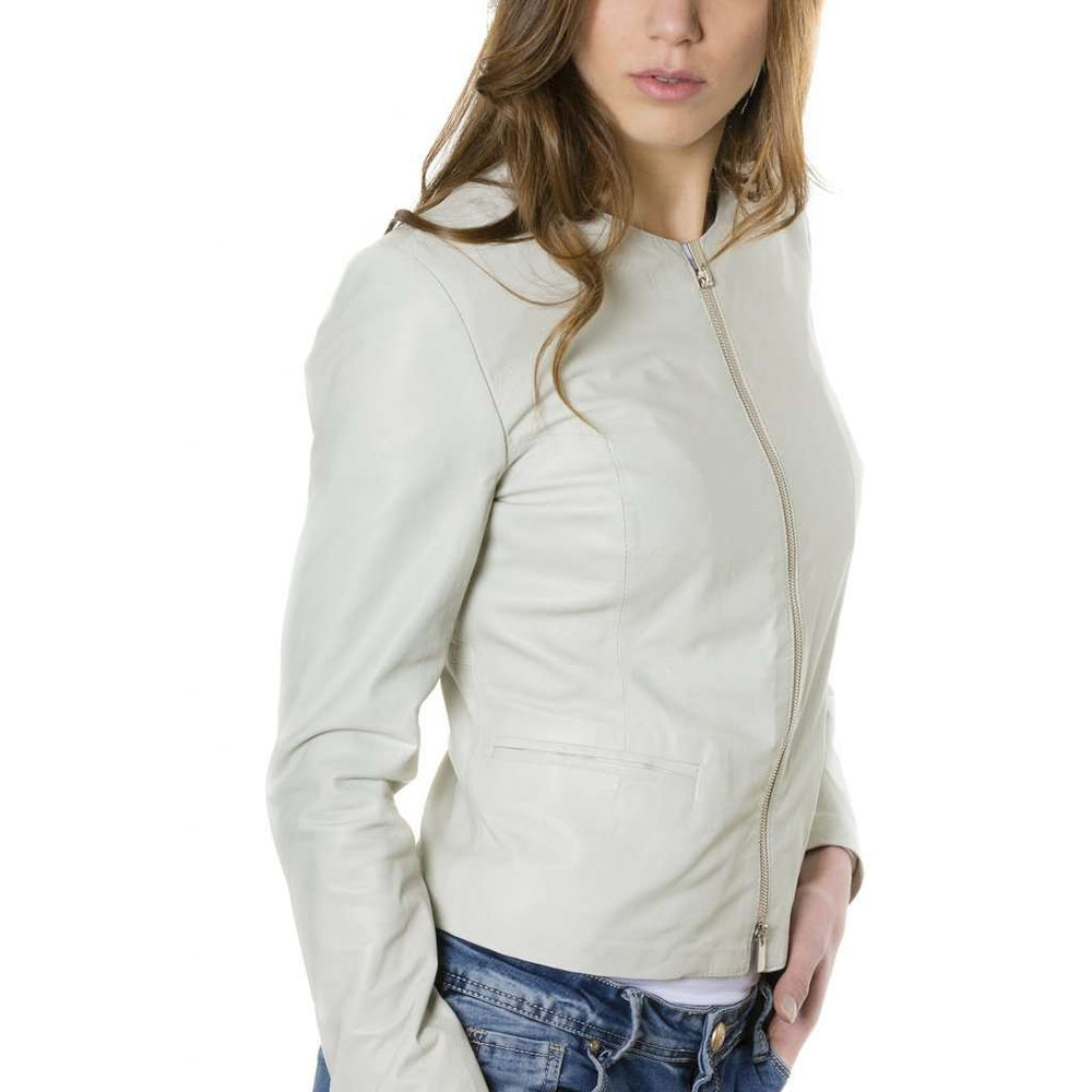 Women's leather jacket roundneck ice Clear