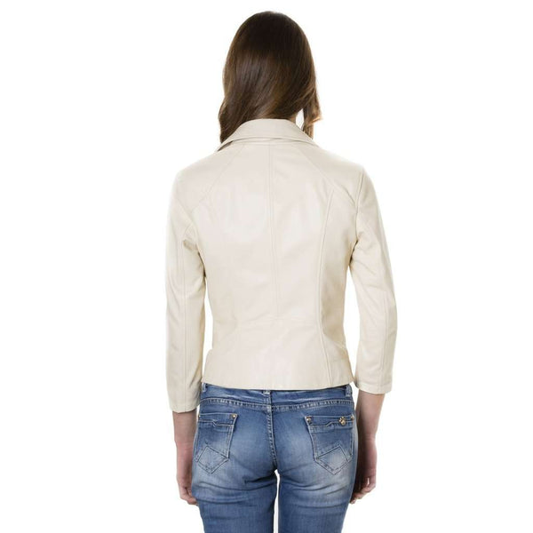 Women's perfecto leather jacket beige KCC