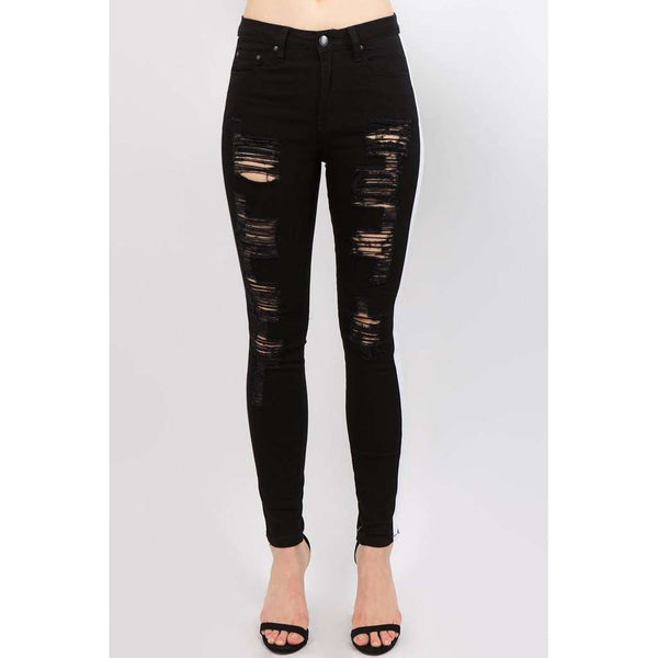 Distressed Track Jeans