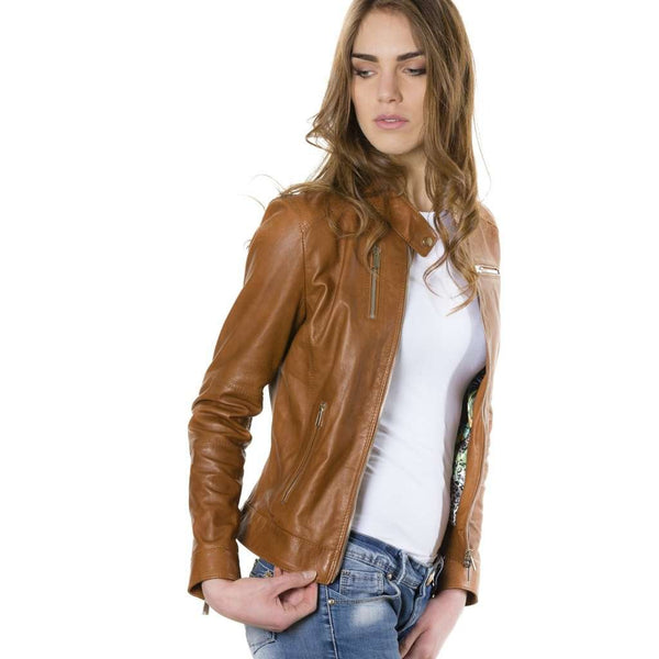 Women's leather Jacket tan Giulia