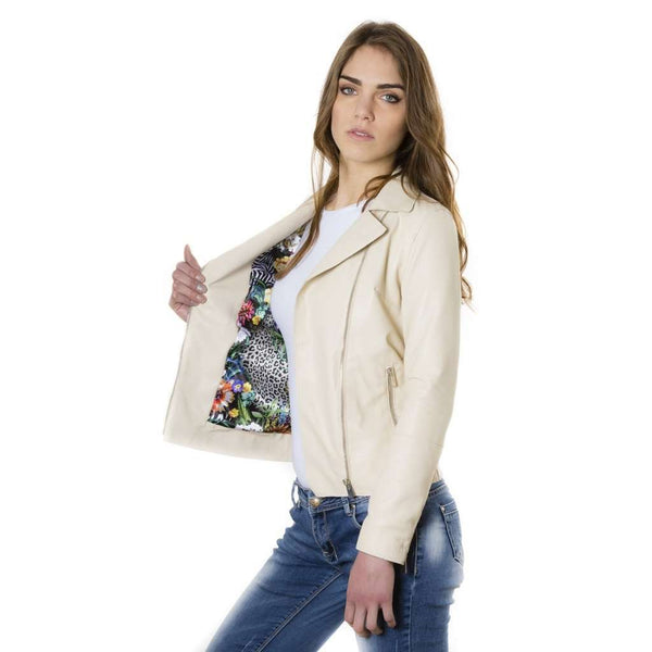 Women's leather jacket beige color Elis