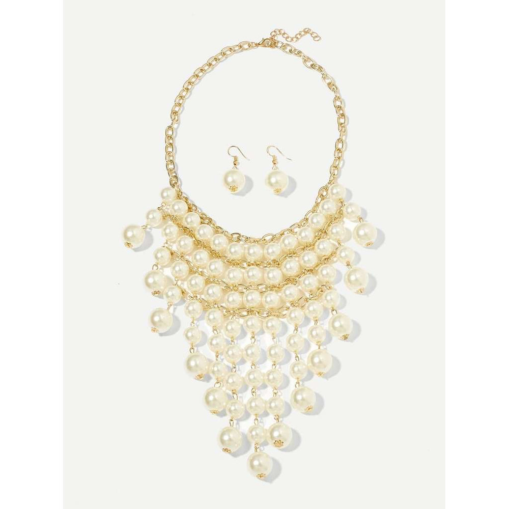 Faux Pearl Delicate Necklace 1pc & Earrings 1pair
