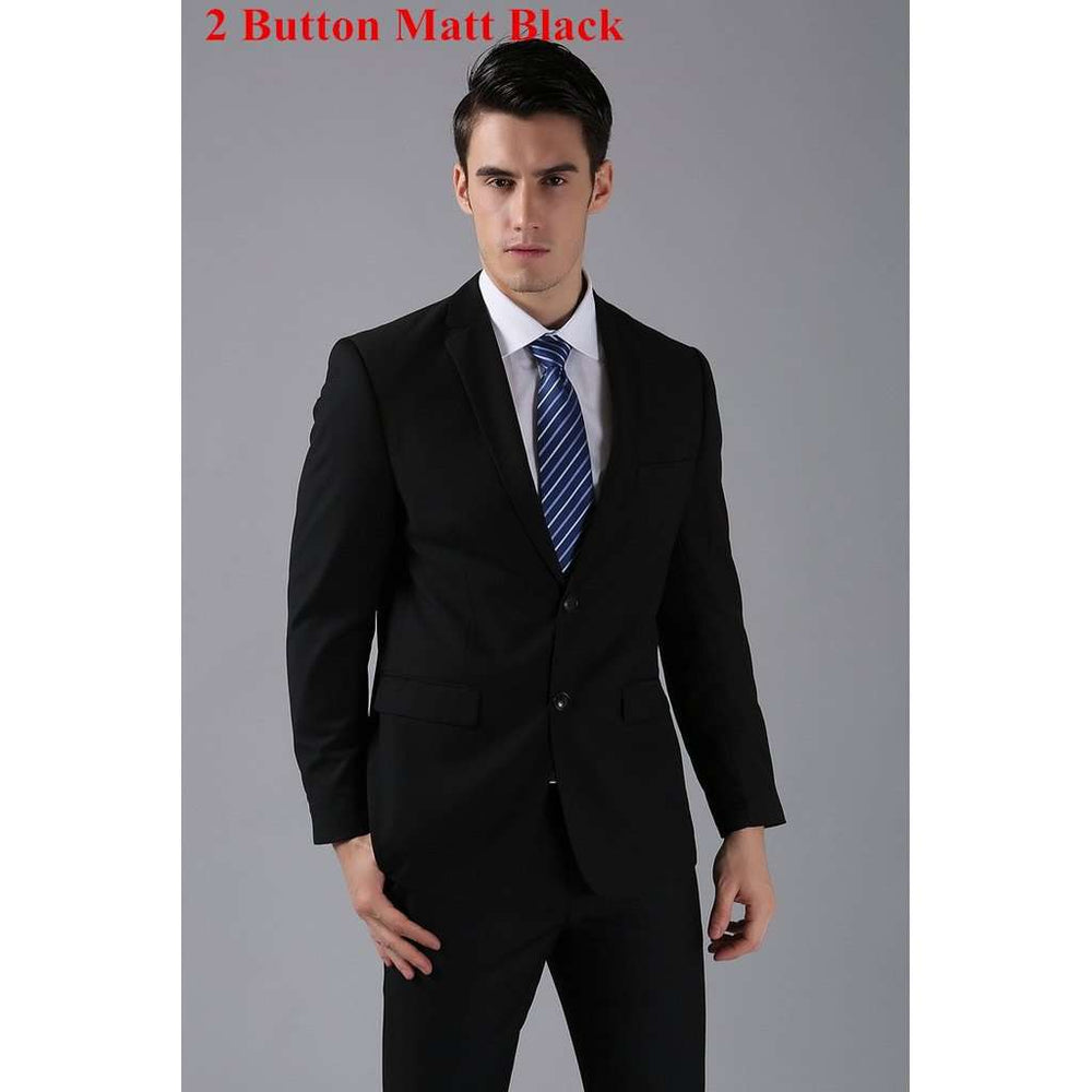 2 Button Matt Black (Jackets+Pants) Men Suits Slim Custom Fit Tuxedo Brand Fashion Bridegroon Business Dress Wedding Suits Blaze