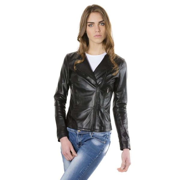 Women's leather jacket black Pinko