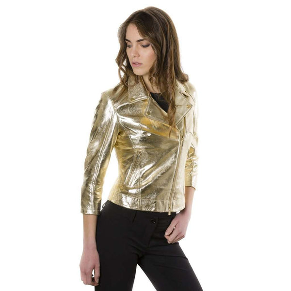 Women's perfecto leather jacket golden KCC