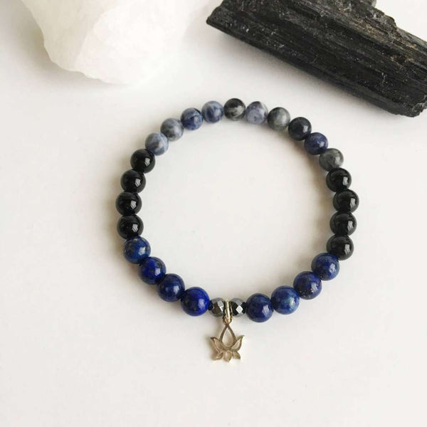 Self-Confidence & Protection - Black Onyx, Hematite, Lapis Lazuli and Sodalite Bracelet