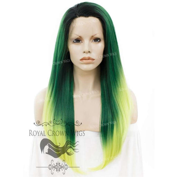 "24 inch Heat Safe Synthetic Straight Texture Lace Front ""Aphrodite"" in Green Ombre"