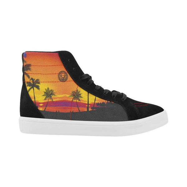 Tropical Black Palm Skater High Top Shoes for Men