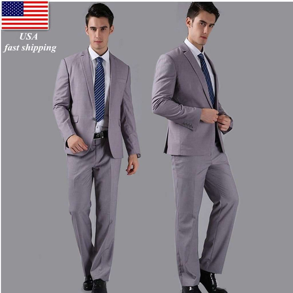 1 Button Light Grey (Jackets+Pants) Men Suits Slim Custom Fit Tuxedo Brand Fashion Bridegroon Business Dress Wedding Suits Blaze