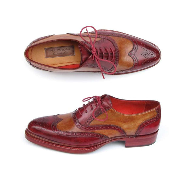Paul Parkman Men's Triple Leather Sole Wingtip Brogues Bordeaux & Camel (ID#027-TRP-CMLBRD)