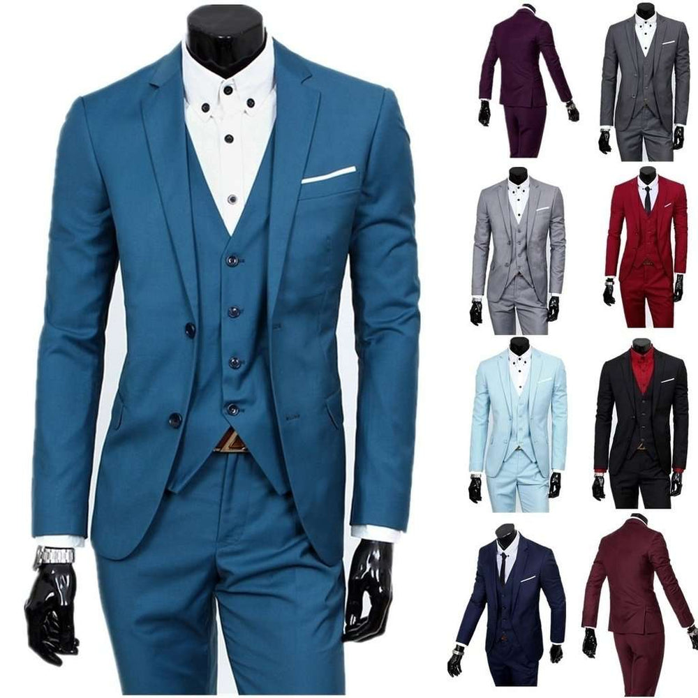 New Men Fashion High Quality Business Leisure Suit Two-piece Suit Men Suits Business Professional Dress Suit Solid Color Suit S-
