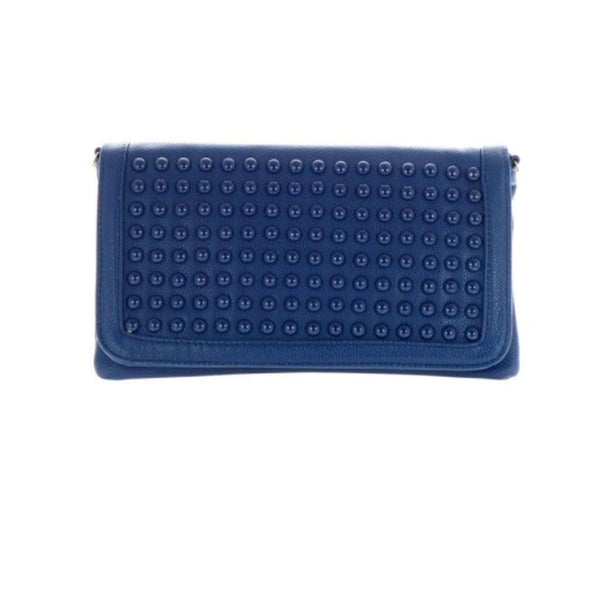 Women's Clutch Blue Textured Studs Large