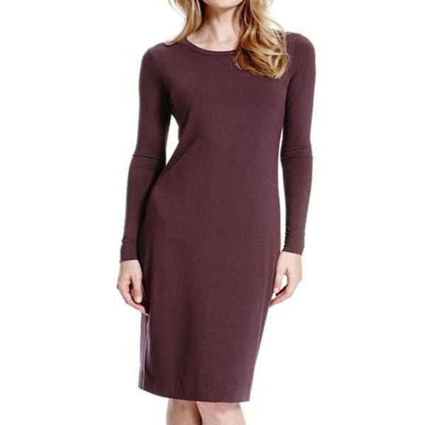 M&S Marks & Spencer's Burgundy Red Jersey Bodycon Dress Size 8 - 18