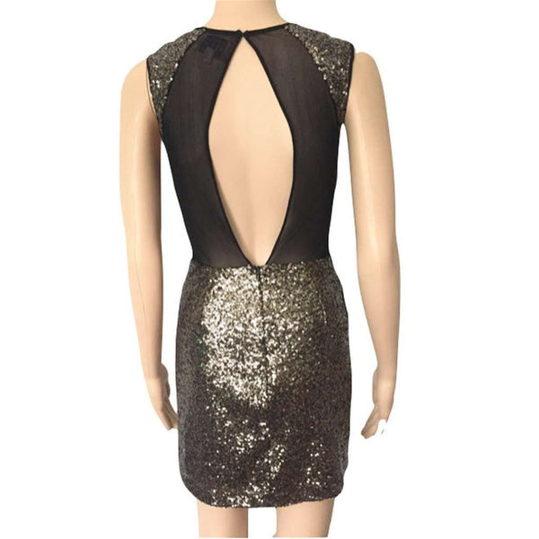 Neon Rose @ ASOS Black Gold Sequin Mesh Plunge Bodycon Dress Size 8